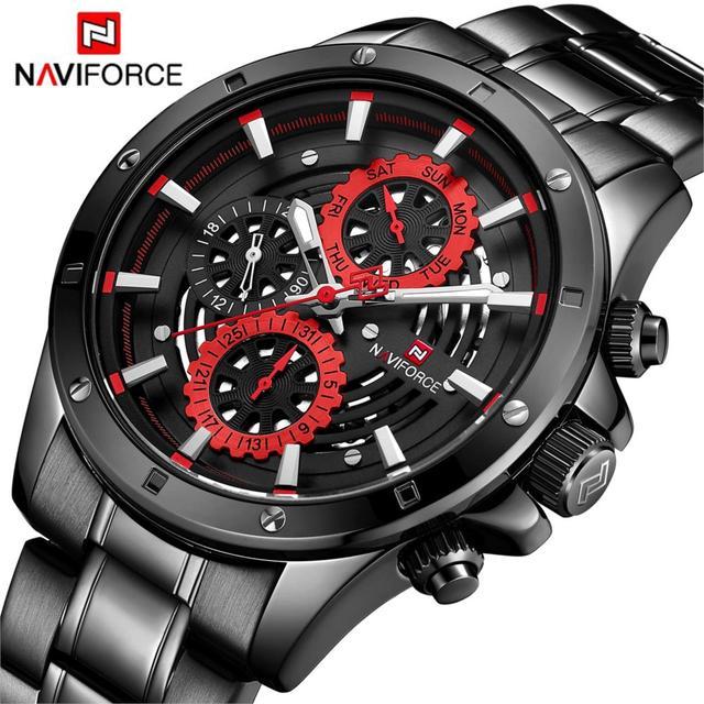 ساعة يد رياضية عصرية جديدة من NAVIFORCE للرجال ساعة يد فاخرة من الكوارتز 3Bar مقاومة للماء من الفولاذ بالكامل للرجال باللون الأسود والأحمر