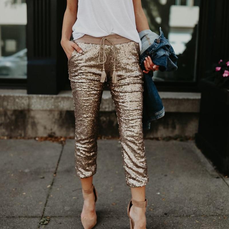 Gold Pants for Women Trousers Loose Casual Solid Color Women Harem Pants Plus Size Capri Women's Summer