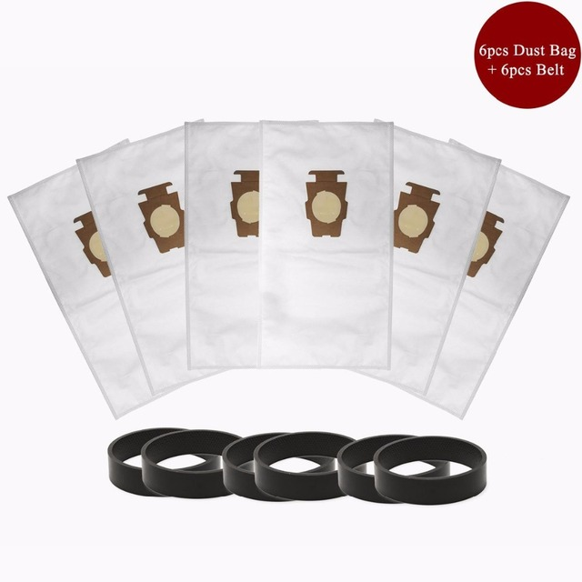6pcs F Style Sentria Universal Vacuum Bags + 6 Belts for KIRBY Micron Magic Hepa White Cloth Sentria Models Part #20481, 204811