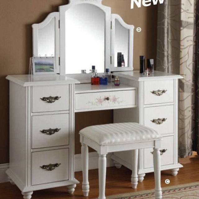 European Rustic Wood Dresser Bedroom Furniture Mirror Vanity Set White Dressers Bedroom Makeup