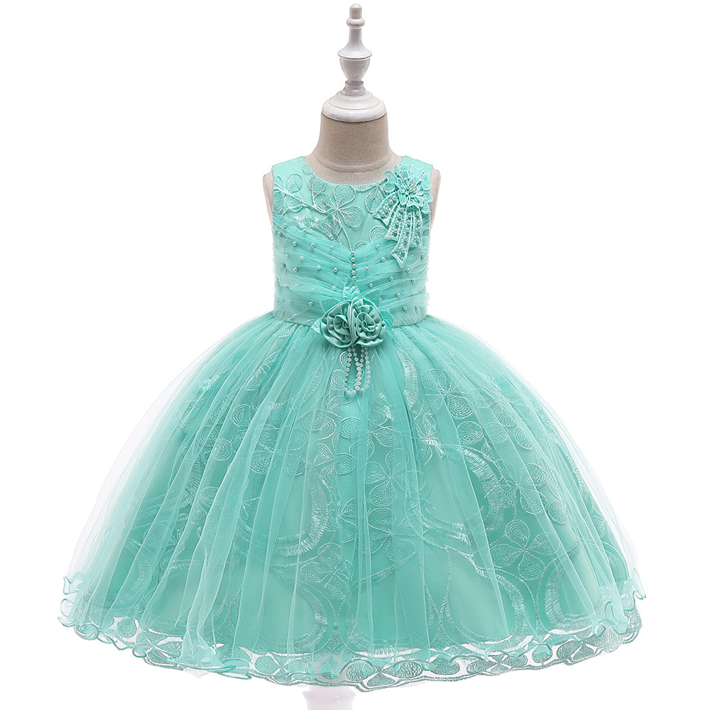 New Style Tulle Tutu Dress for Kids Formal Wedding Evening Party Lace Appliques First Communion Dresses 2019 with Pearls