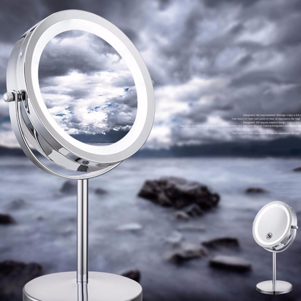 Portable Size 5X Magnification Facial Makeup Cosmetic Mirror Round Shape LED Light Women Desktop Makeup Mirror 2018 Hot New все цены