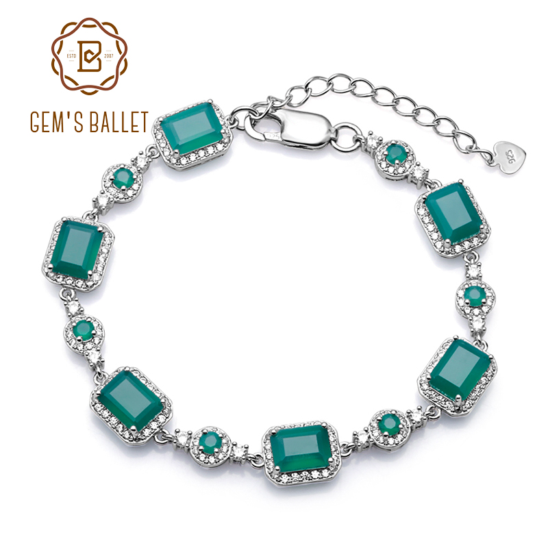 GEM'S BALLET 6x8mm Green Agate Bracelet Genuine 925 sterling silver Natural Gemstone Bracelets&bangles For Women Fine Jewelry