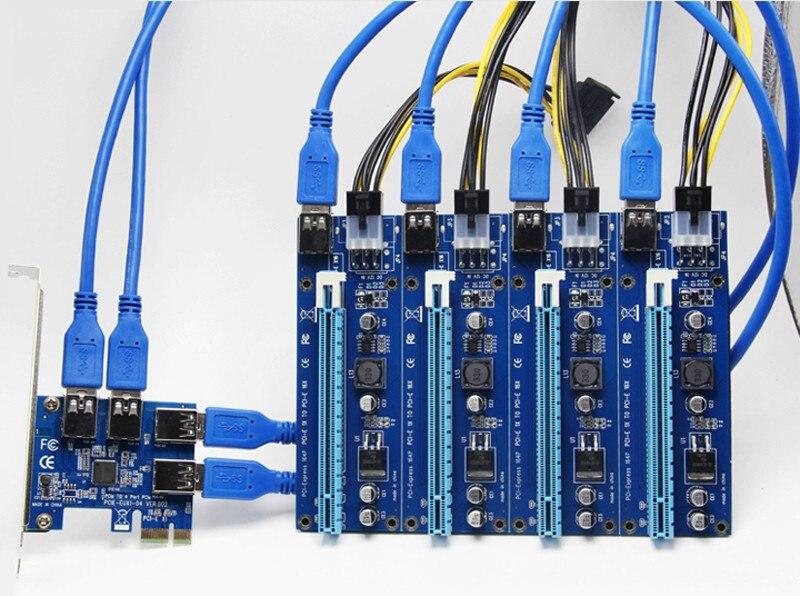 60 cm USB 3.0 PCIe carte Riser PCI-E Express 1x à 4 ports PCI-E 16x adaptateur d'extension SATA 15Pin-6Pin câble d'alimentation pour BTC Mining