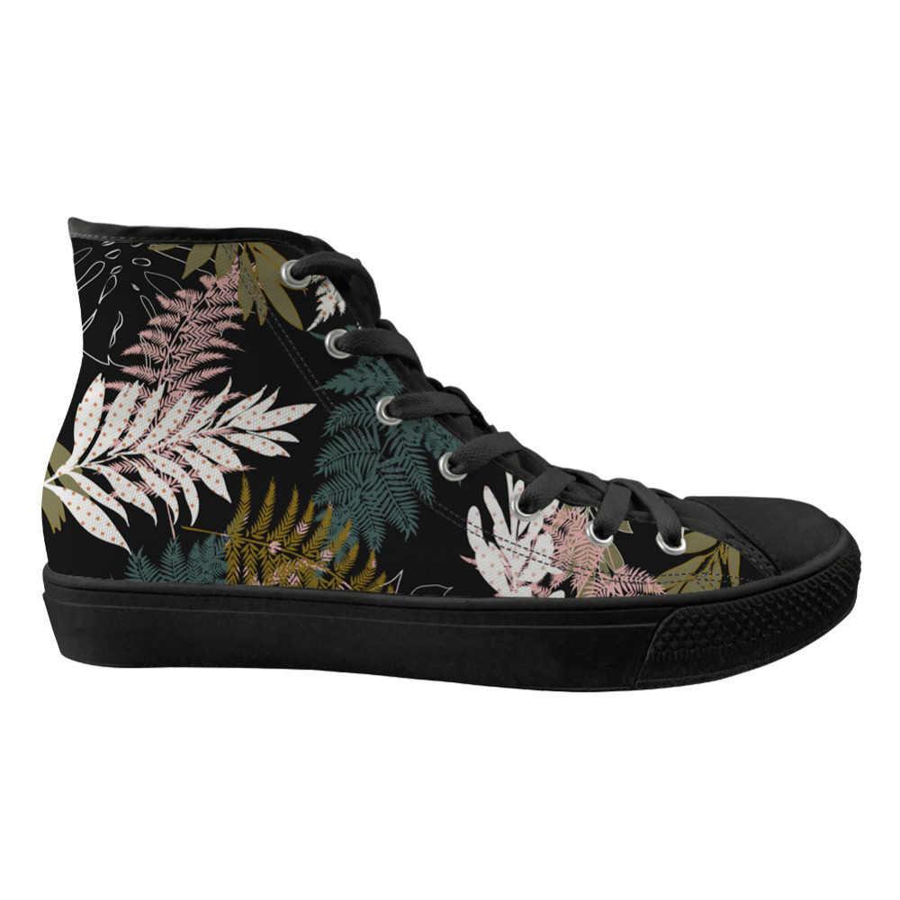 אופנה צמחים טרופיים מודפס מקרית דירות סניקרס נשים גבוהה למעלה שרוכים נשים של גופר בד נעלי אישה