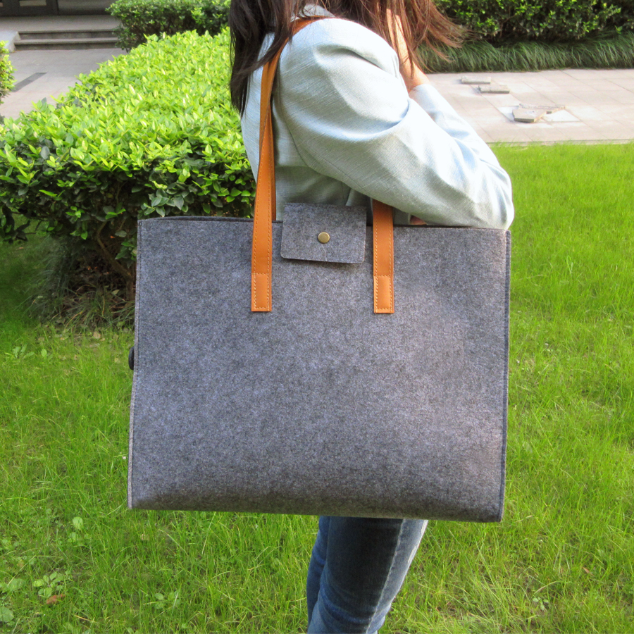 Sight focus brand grey felt tote bag shoulder bag lightweig fashion recycling totes woman bag vilten tas bolso gris mujer