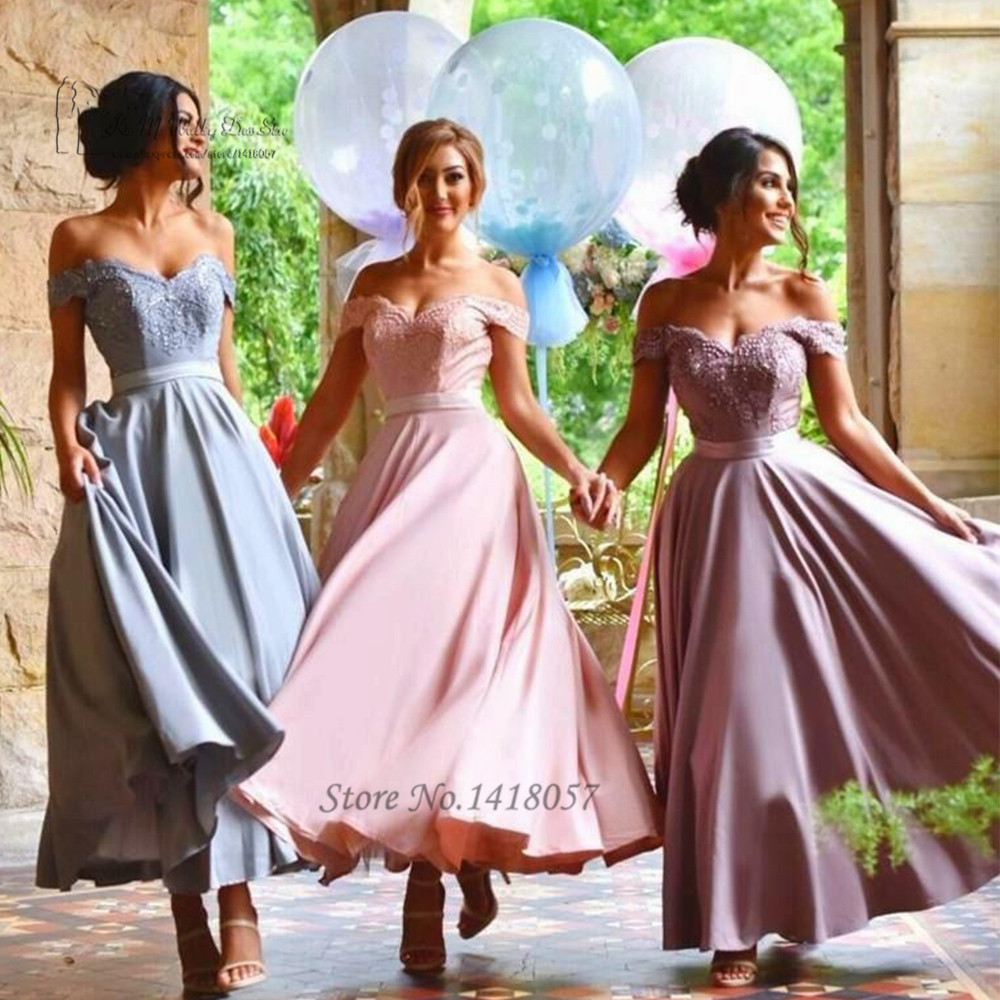 Pink purple blue vintage tea length bridesmaid dresses lace off pink purple blue vintage tea length bridesmaid dresses lace off shoulder wedding party dress imported gown vestido para madrinha in bridesmaid dresses from ombrellifo Choice Image