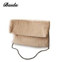 Fashion Women S Chain Shoulder Bag Winter Luxury Ladies Handbag Hairy Faux Fur Crossbody Messenger Bags