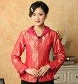 Весна Осень Новый Красный женская Шелковый Атлас Куртка Китайский Формальный Костюм Vintage Тан Костюм Сплошной Цвет Тонкий Пальто S Для XXXL NJ86