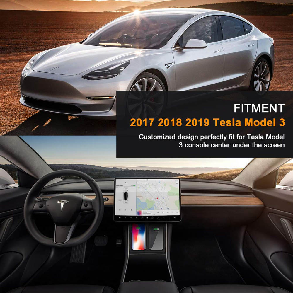 Image 5 - 2019 tesla model 3 Car phone wireless charger with Dual USB Ports Dual Phones Center Console Charging for iPhone X XS XR 8 8PLUS-in Chargers & Service Equipment from Automobiles & Motorcycles