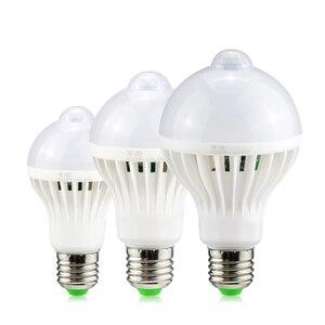 Image 1 - Светодиодный светильник с ИК датчиком движения E27, 220 В, 5 Вт, 7 Вт, 9 Вт, автоматический светодиодный светильник с датчиком движения чувствительного человеческого тела, ночной Светильник s