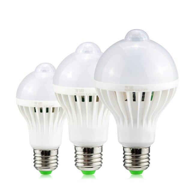 Светодиодный светильник с ИК датчиком движения E27, 220 В, 5 Вт, 7 Вт, 9 Вт, автоматический светодиодный светильник с датчиком движения чувствительного человеческого тела, ночной Светильник s