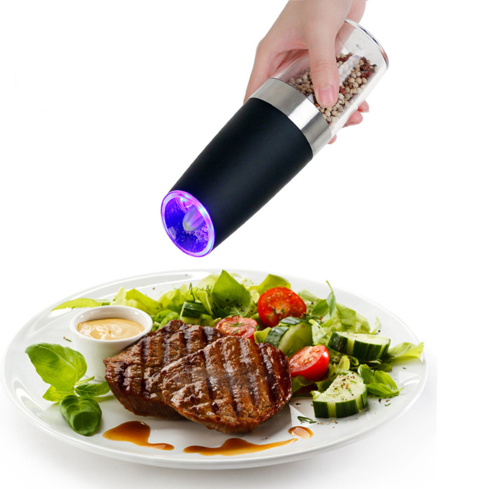 Automatische Elektrische Pfeffermühle LED Licht Salz Pfeffer Schleifen Flasche Freies Küche Gewürz Schleifen Werkzeug Automatische Mühlen 2018