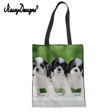 Noisydesigns Cocker Spaniel Print Women Canvas Reusable Shopping Brand Tote Summer Student Shoulder Fold Crossbody Bags Torebka