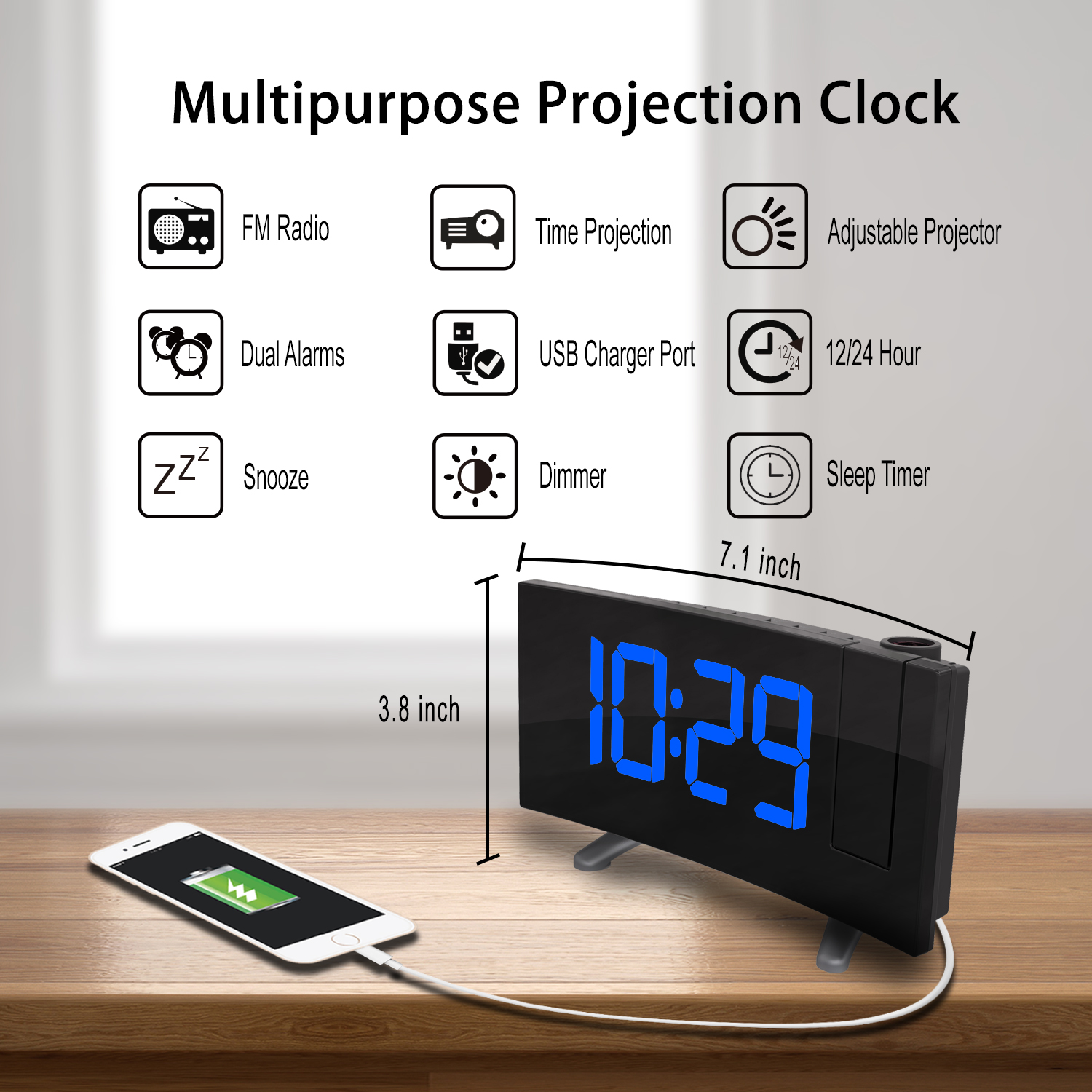 USB Charge Cable 180 Degree Table Wall FM Radio Clock Digital Radio Alarm Clock Projection Snooze Timer LED Display