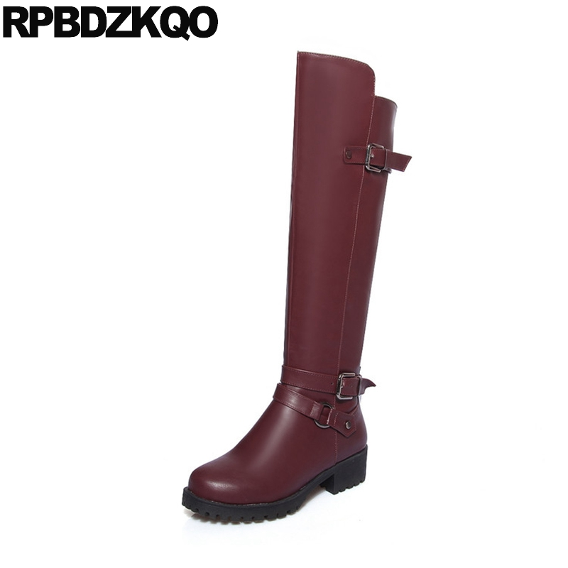 Low Heel 10 Chunky Round Toe Waterproof Winter Boots Women Shoes Cheap Big Size Equestrian Knee High Long Belts Riding Wine Red цены онлайн