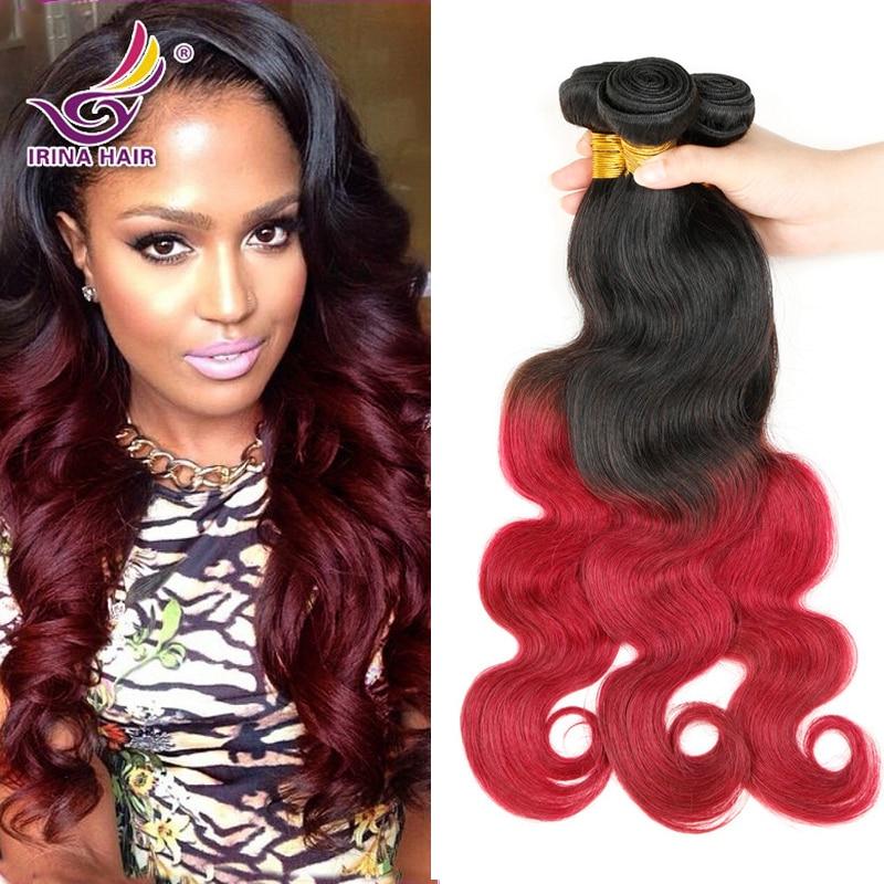 Brazilian Virgin Hair Body Wave Ombre Human Hair Extensions 1b 99j