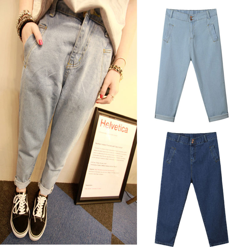 100KG Plus size fat big size jeans women lady loose casual harem denim jeans trousers pants WP2055