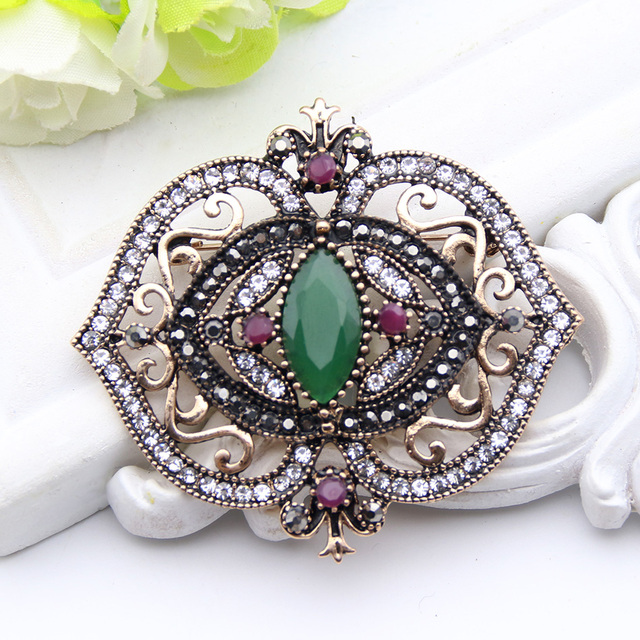 US $4 35 25% OFF|Trendy Turkish Antique Jewelry Women Gold Color Crystal  Rhinestone Brooches Lapel Hijab Scarf Pins Best Engagement Party Brooch-in