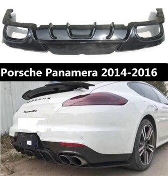 Lèvre de Spoiler de pare-chocs arrière de voiture de Fiber de carbone, couverture automatique de diffuseur de pare-chocs arrière de voiture pour Porsche Panamera 2014 2015 2016