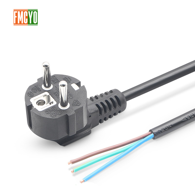 EU 1.8m European Standard Power Cord Bare Tail End 0.75mm2/1mm2/1.5mm2 Thick Cable For Computer/Printer/Rice Cooker