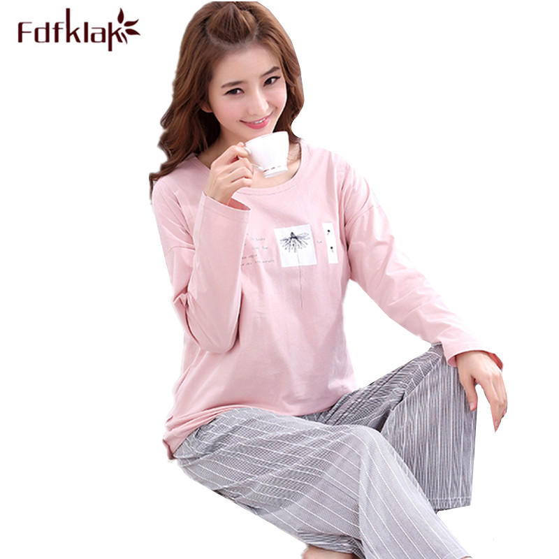Fdfklak New 2018 Autumn Winter Maternity Pajamas Cotton Pregnancy Pajama Set Long Sleeve Cartoon Nursing Pajamas hamile pijama