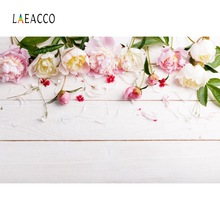 Laeacco Vinyl Planks Spring Flower Petals Baby Pet Doll Portrait Photo Background Photo Backdrop Small Size Printed Photo Studio tree flower garland love heart photo studio background vinyl cloth high quality computer printed weddings backdrop