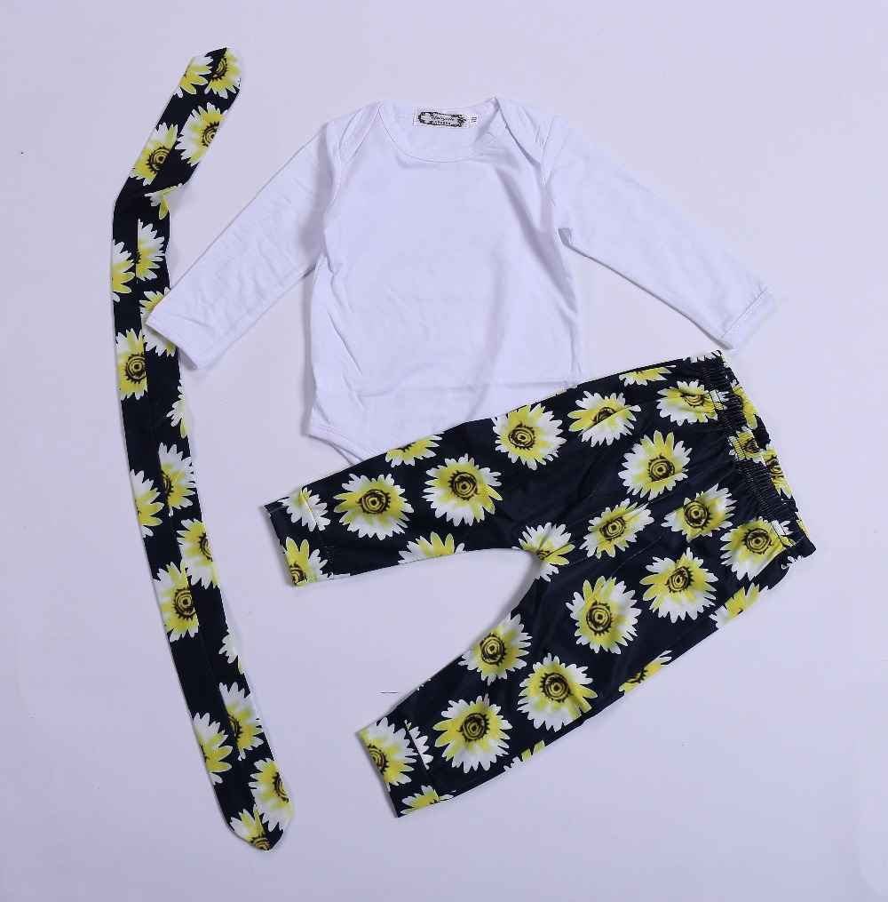 Baby girls clothes Toddle girls clothing sets 3 pieces suits Tops Romper Chrysanthemum pants & Headband set baby clothing