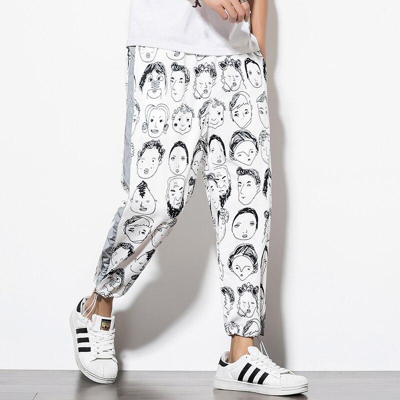Мужские брюки для бега, с героями мультфильмов, черные и белые, квадратные, длина по щиколотку|Джогеры|   | АлиЭкспресс