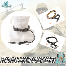 Z-TAC Throat Microphone Headset  waterproof adjustable earphone for helmets With New Military Standard Plug Z033