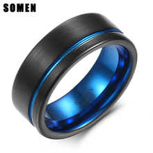цены Somen Ring Men 8mm Tungsten Carbide Ring Thin Blue Line Brushed Wedding Band Male Engagement Ring Men Jewelry USA Dropshipping