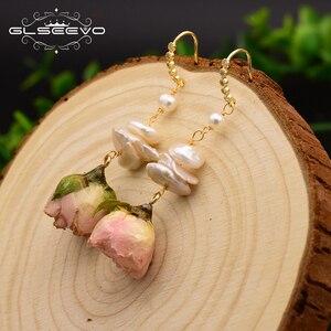 Image 2 - GLSEEVO naturalne słodkowodne barokowe perły spadek kolczyki dla kobiet Party naprawdę kwiat Handmade luksusowa romantyczna biżuteria GE0492