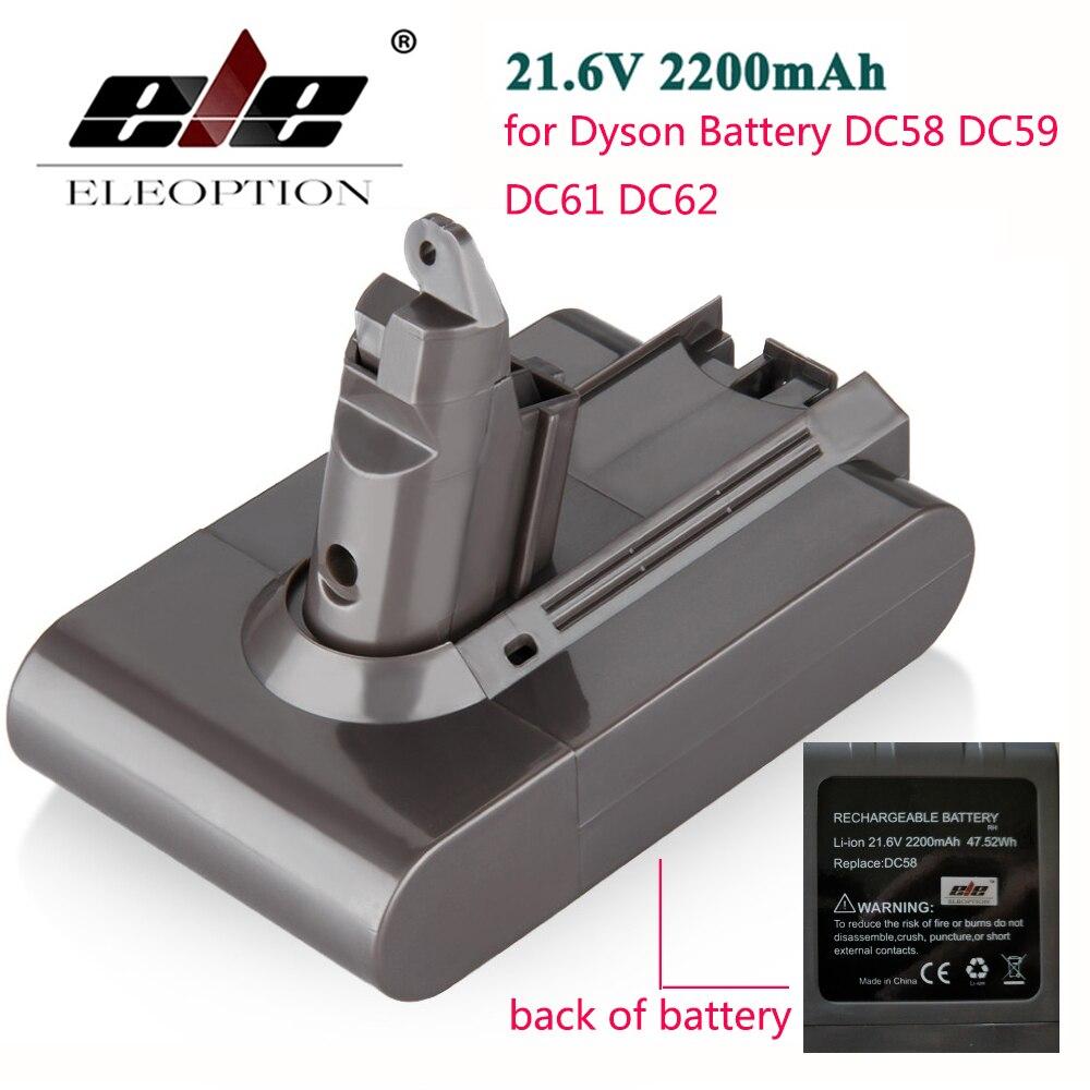 Alta Qualidade ELEOPTION 2200 mAh 21.6 V Bateria Li-ion para Dyson DC58 DC62 DC59 DC61 Aspirador de pó 965874-02