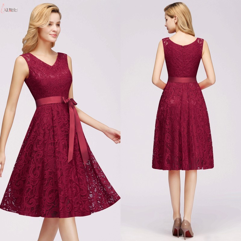 2019 Burgundy Short robe   Cocktail     Dresses   V Neck Sleeveless A line Party Gown In Stock