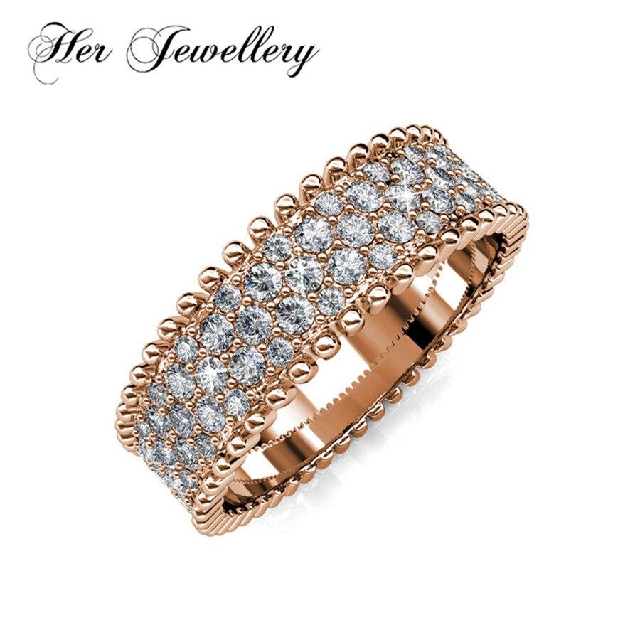 Ses bijoux bague en or rose & luxe 2018 design nouvelles bagues faites avec des cristaux de Swarovski HR0020