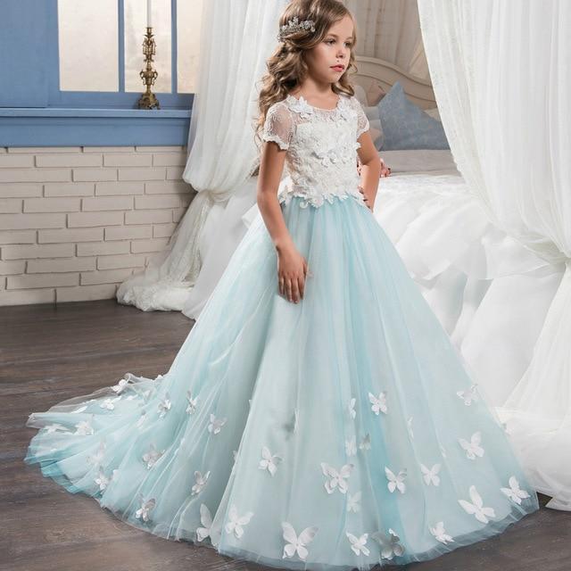 Vestidos Flower Girl Dresses Kids Cute Butterflies Lace Bridesmaid ...
