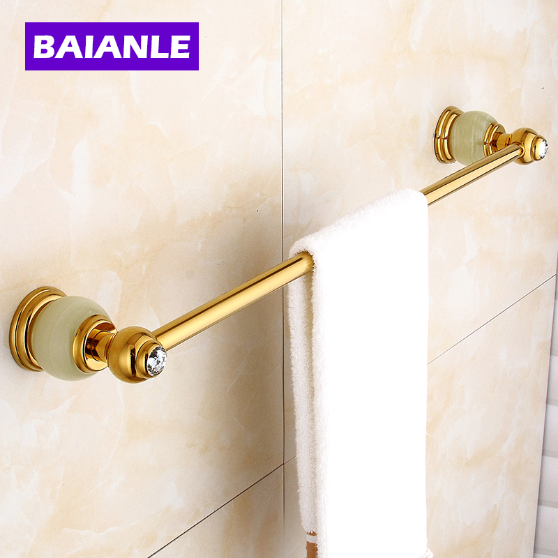 Golden Jade Bathroom Towel Bar Single Towel Hanger Solid Brass Accessories free shipping 2014new arrival brass single towel bar golden color towel ring bathroom accessories towel holder wholesale zp 9324