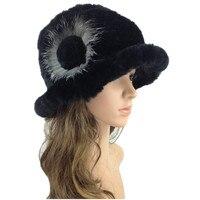 Bayan kürk şapka Yeni stil doğa rex tavşan kadın örme kürk kap kış ve güz siyah mor beyaz gri kadınlar için H111