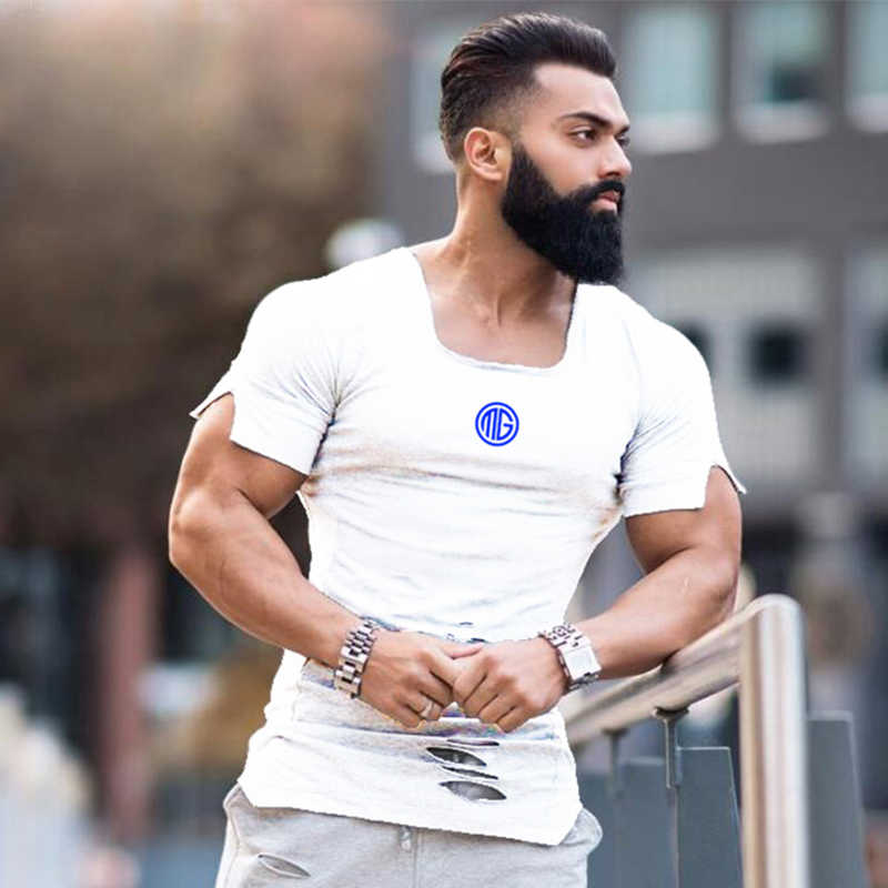 ddb7ba73f6 Muscleguys Brand Clothing Fashion T-shirts Men Ripped Hole Short Sleeve Tee  Shirts Casual Hip