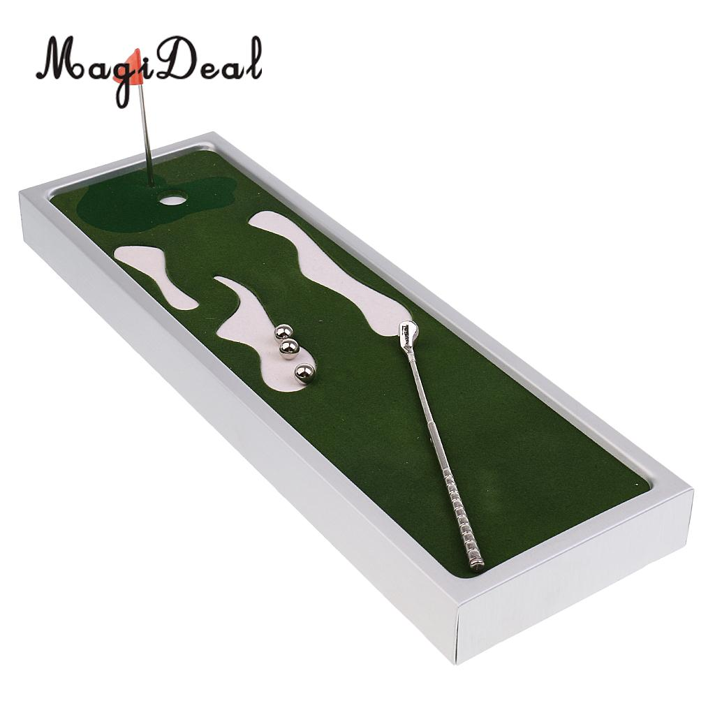 MagiDeal Mini Novelty Table Top Golf Game Board Game Golf Putting Green With Putter Ball Flag Set Toy friend Gift for Golf Lover