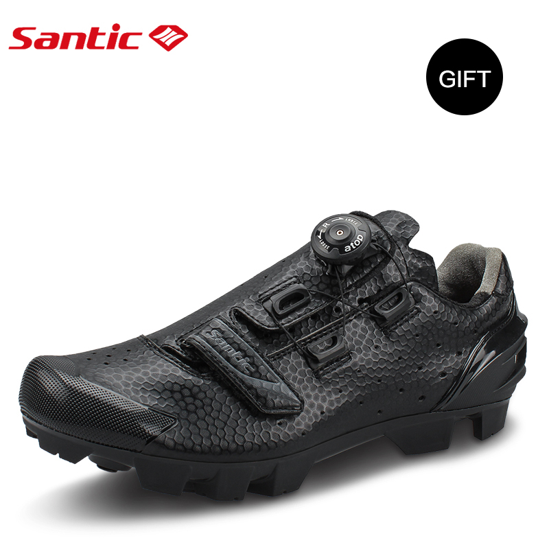 Santic Cycling MTB Bike Bicycle Men Shoes Breathable Mountain Bike Bicycle Equipment Self locking TPR PU Shoes With Free Socks - 2