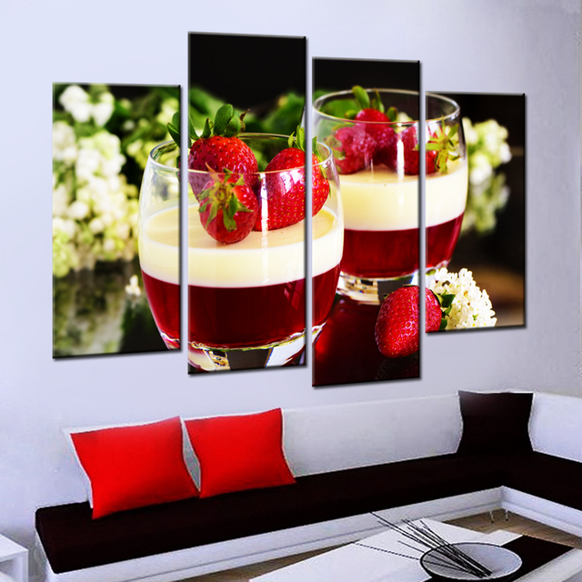 Drop Shipping Unframed Fruit Strawberry Canvas Painting Modern Wall Paintings For Kitchen Art Paint