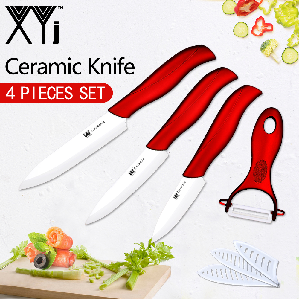 XYj White Blade Ceramic Knives High Quality Kitchen Cooking Knives Accessories 3 Paring 4 Utility 5