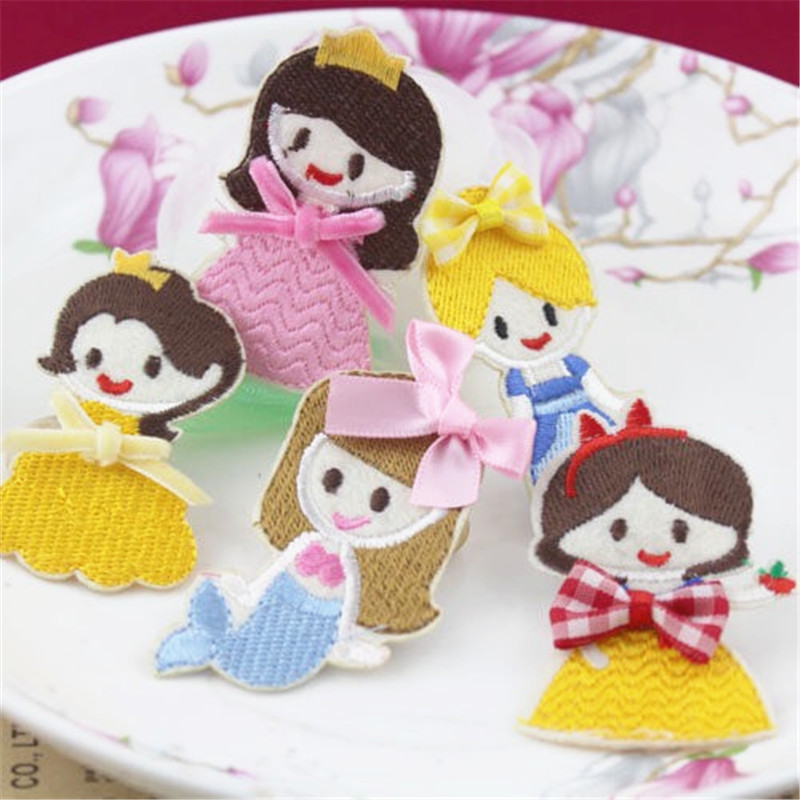 30PCS Handmade Princess Girl Hair Jewelry Decoration Fabric Woven Patch Stikcer Headband Hair Clips Button Sticker for DIY