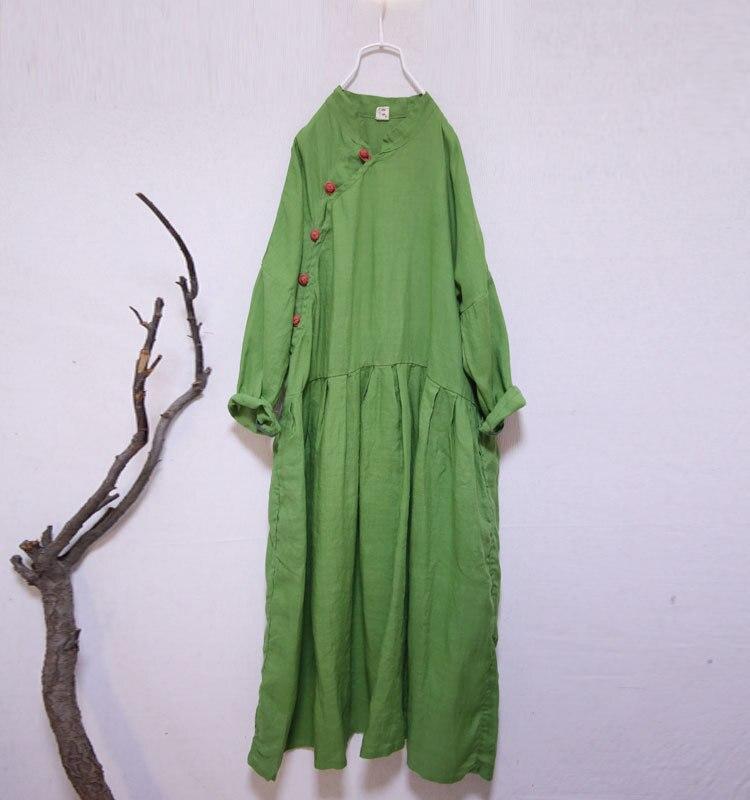Vintage couleur grenouille bouton col montant femmes grande taille coton robe en lin, été mince décontracté lâche large hanche longue poche robes