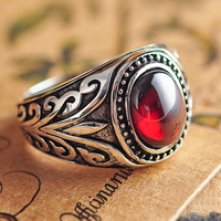 Real 925 Sterling Silver Jewelry Vintage Rings For Men Engraved Flowers With Black Onxy Red Garnet Natural Stone Fine Jewellery