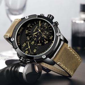 Image 4 - Megir Chronograaf Sport Quartz Horloge Mannen Dual Time Zone Mannen Horloges Creatieve Lederen Militaire Horloges Klok Uur