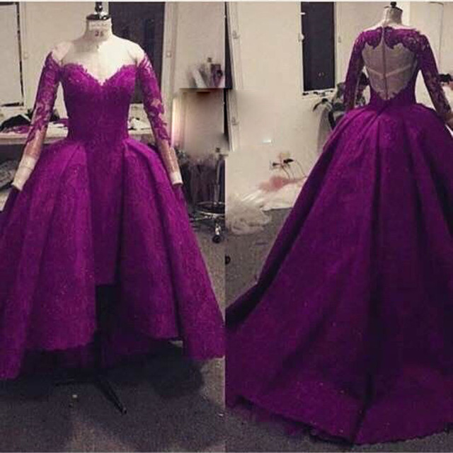 Glamorous Long Sleeve Lace Prom Dresses Jewel Neckline Appliqued with Train  2016 Shirt Front Long Back Purple Dress for Girl 04c5ad6cba60