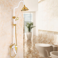 Shower Faucet Luxury Brass Rain Shower Set Wall Mounted Gold Bathroom Faucet With Slide Bar Bathtub Faucet Gold and White Baking