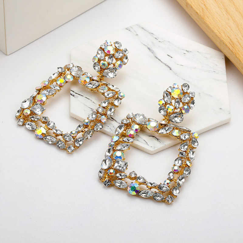 Exaggeration dazzling color water drill Square drop earring  for Women Geometric statement Luxurious Wedding Jewelry